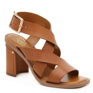 Franco Sarto Brown Leather Block Strappy Sandals